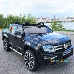 Электромобиль Volkswagen Amarok черный (легко съемный аккумулятор, 2х местный, резина, кожа, пульт музыка)